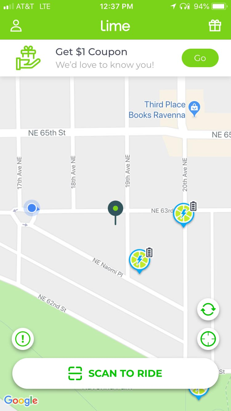 On the Lime app, the ebikes show up as circles with a lightning bolt on them. You can also see your own location, which helps to find the bikes