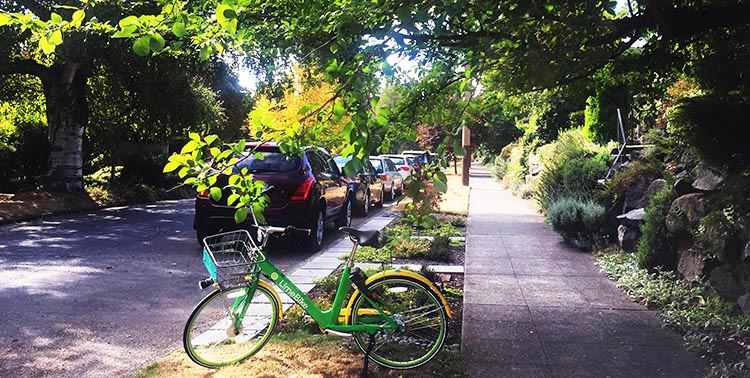 The first Lime bike we spotted was parked right on the street where we were staying, This particular one was a regular bike, not an ebike