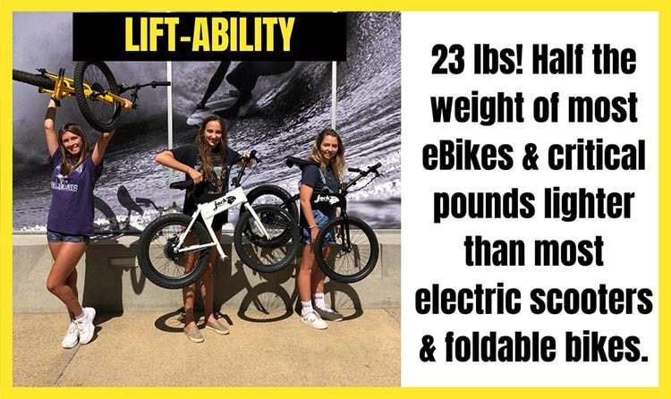 The JackRabbit Mini Ebike is lightweight for an electric bike